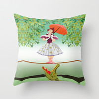 Halloween haunted mansion the girl with the crocodile Throw Pillow case by Three Second