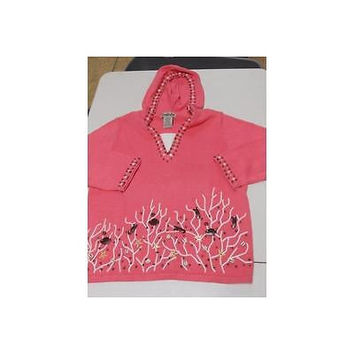 Women's Shells Embellish Hooded Sweater, #833, Pink, Large Timberlea