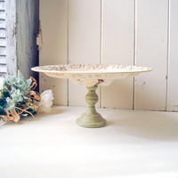 Rustic Cream Cake Stand, Farmhouse Green Cupcake Stand, Silver Plate Wedding Dessert Stand with Flowers, Ornate Shabby Cottage Chic Display