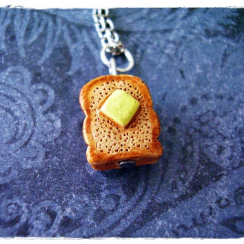 Buttered Toast Necklace - Enameled Ceramic Buttered Toast Charm on a Delicate 18 Inch Silver Plated Cable Chain