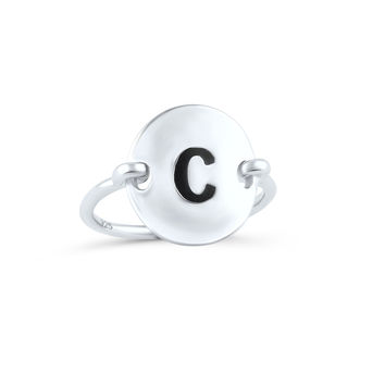 Sterling Silver Oval Initial C Ring