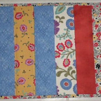 Floral Multicolor Quilted Table Runner Handmade Reversible 11.5  x 32 inches was 25.00