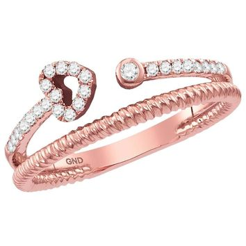 10k Rose Gold Women's Diamond Heart Bisected Stackable Ring