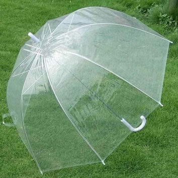 Plastic EVA Transparent Leaves Cage Sunny Umbrella Rain Umbrella Parasol Women Semi-automatic Umbrellas Clear Paraguas