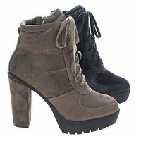 Laker11A Taupe By Wild Diva, Women Lace up Combat Lita Bootie w Threaded Lug Sole, Chunky High Heel