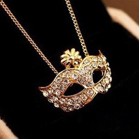 mask retro palace Drill diamond Rhinestone necklace