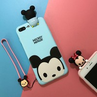 Cute cartoon Lanyard couple mobile phone case for iPhone X 7 7plus 8 8plus iPhone6 6s plus -171110