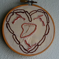 "Meatheart in 4 inch wooden hoop, inspired by sublime stitching ""meaty treats"" transfers, meatlover art, bacon, hand embroidered hoop art"