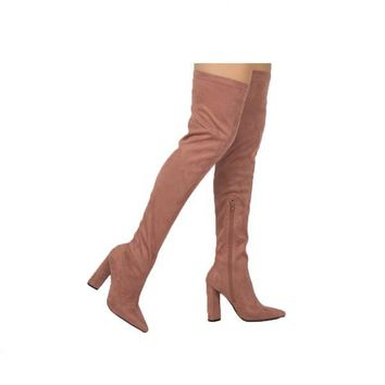 Mauve Suede Thigh High Boots