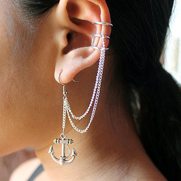 Silver Anchor Ear Cuff Earring by EnamourEntirety on Etsy