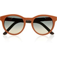The Row Round-frame leather-trimmed acetate sunglasses – 57% at THE OUTNET.COM