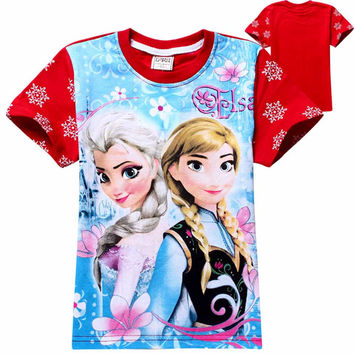children girls t-shirt tops and blouse girl baby tshirt anna shirt elsa shirts elza tee costume for kids clothes clothing jurk