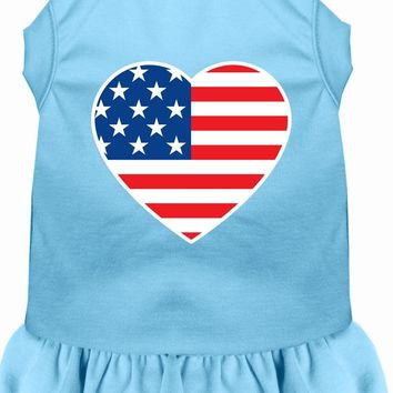 American Flag Heart Screen Print Dress Baby Blue Med (12)