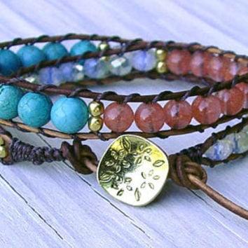 Carnelian, Howlite, Gold, Leather Wrap Bracelet, Boho, Chic, Turquoise, Double Wrap Bracelet, Mothers Day, Gifts for Her, Teen, Bohemian