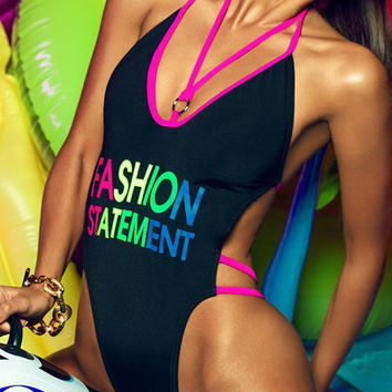 Pink Contrast Strappy Slogan Print Halter Open Back Swimsuit