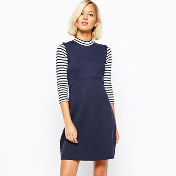 Navy High Collar Striped Long Sleeves  A-Line Dress