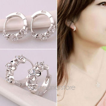 New Fashion 925 Sterling Silver Plated Women Lady Elegant Ear Stud Hoop Earrings = 1958090948