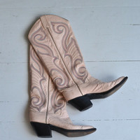 Little Sissy boots • western boots • vintage leather cowboy boots • pink cowgirl boots 6.5
