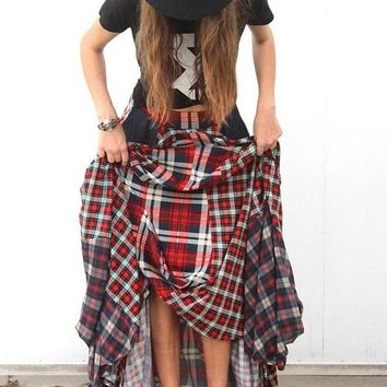 Bella Boho Damsel Plaid Flannel Tiered Maxi Skirt
