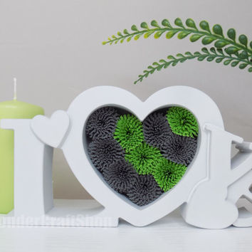 valentines gift for her, heart home decor, two color heart, love heart, lettered love gift, anniversary gift, love wall art, green grey