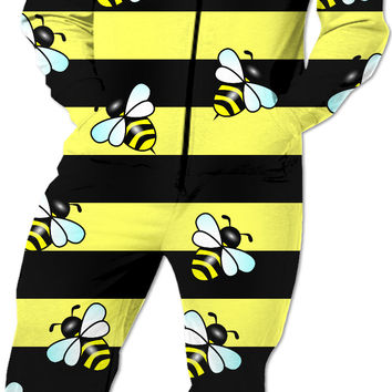 Wasp stripes and cartoon wasps pattern Onesuit, colorful jumpsuit, cute design