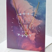 AEO 's Good Vibes Only Necklace (Gold)