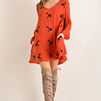 Floral Embroidery with Cutout Back Shift Dress