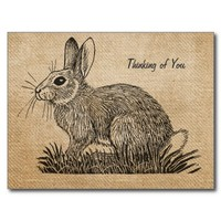 Burlap Vintage Rabbit Thinking of You Postcard from Zazzle.com