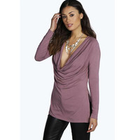 Heave Collar Long-Sleeve Side of the Split T-Shirt