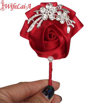 Top Quality Diamond Silk WineRed Color Bouquet Corsage Diamond Rose Accessories for Wedding Bride and Groom Brooch Pin X1104-1
