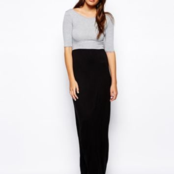 Club L Color Block Maxi Dress - Gray/black