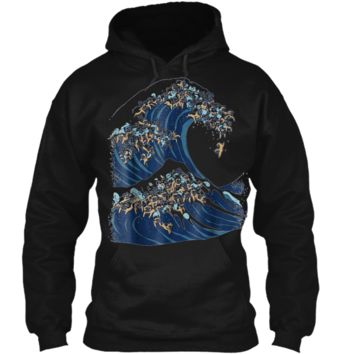 The Great Wave of Pugs Funny T-  by Huebucket Pullover Hoodie 8 oz
