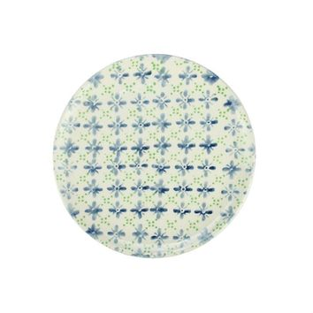French Countryside Decorative Blue and Green Flower Round Terracotta Dinner Plate 9.25""