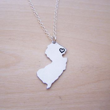 Hand Stamped Heart New Jersey State Sterling Silver Necklace / Gift for Her
