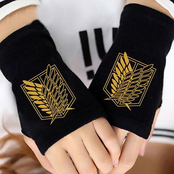 Cool Attack on Titan Anime  Finger Cotton Knitting Wrist Gloves Mitten Lovers Anime Accessories Cosplay Fingerless Gift HOT Fashion AT_90_11