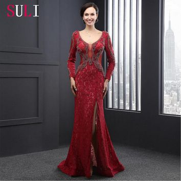SL2008 Mermaid Evening Gown Wine Lace Pearls Full Sleeves Backless Evening Dresses 2016