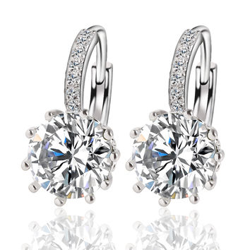 Women's Fashion Alloy Silver-Plated Crystal Earrings Jewelry Design