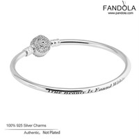 2017 Spring Bangles 925 Sterling-Silver-Jewelry Beauty & The Beast Bangle Rose Clear CZ Clasp Charm Bracelet Bangles for Women