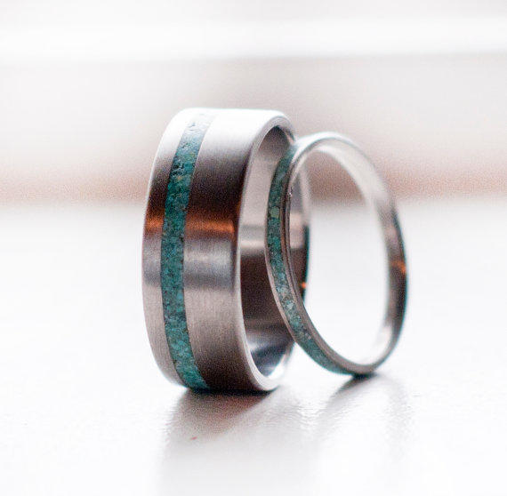 matching pair turquoise wedding bands from stagheaddesigns on With mens silver and turquoise wedding rings