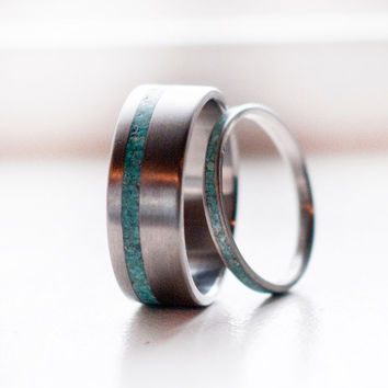 Matching Pair Turquoise Wedding Bands Silver rings or Titanium rings