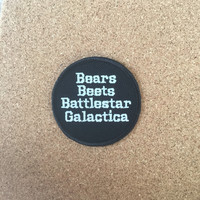 "Iron on The US Office patch ""bears beets battlestar galactica"" Jim as Dwight patch"