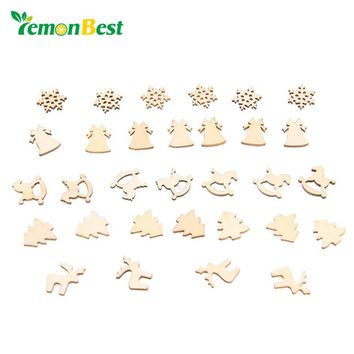 LemonBest 30pcs 5 Patterns Designs Natural Wood Christmas Ornaments Reindeer Tree Snow Flakes Rocking Horse Bell for Xmas Decor