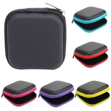 80*80*30mm Square EVA Earphone Holder Case Mini Zipper Headset Bluetooth Earbuds Memory Card USB Cable Cable Storage Bag Box New