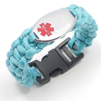 "AUGUAU Chic Alert Medical Id Paracord Medical Id Bracelet - Engraving Included!! (8.5"", Turquoise)"