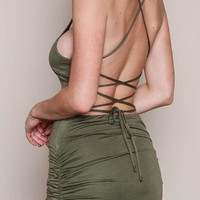 Army Green Cross Back Tie Back Cut Out Ruched Mini Dress
