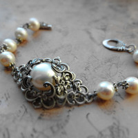 Ornate vintage flower bracelet / freshwater pearls, silver plated brass
