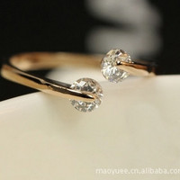 Rose Gold Twin Zircon CZ Diamond Engagement Rings for Woman