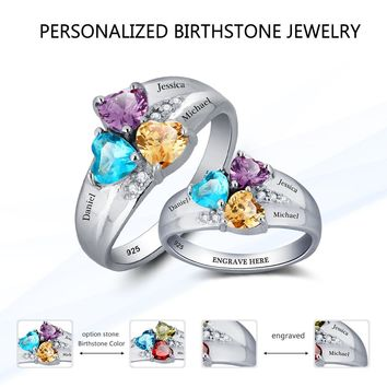Heart Birthstone Personalized Engraved 3 Name Ring 925 Sterling Silver Jewelry
