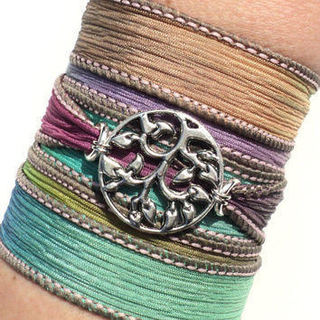 Bohemian Silk Wrap Bracelet Tree of Life Yoga Jewelry Earthy Etsy Gift For Her Mothers Day Unique Gift Under 50 Item Y85
