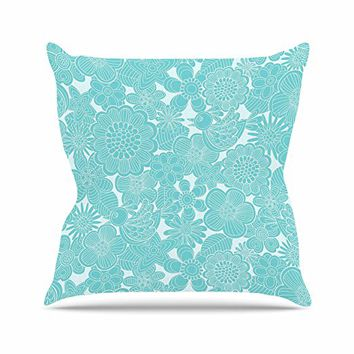 "Kess InHouse Julia Grifol ""Turquoise Birds"" Aqua Blue Throw Pillow, 26 by 26"""